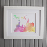 Hogwarts Watercolor, Harry Potter Quote, Giclee Watercolor Hogwarts, Harry Potter Inspiration Fan Wall Art, Motivation Art Print, Home Decor