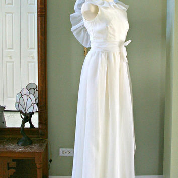 Vintage Chiffon Dress, 80s White Chiffon Angel Wing Ruffled Gown, Open Back Long White Chiffon Gown Side Bow, White Formal Dress Size S