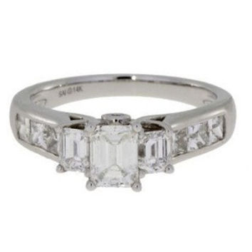 Emerald Cut Three Stone Diamond (2.0ct. tw.) Engagement Ring In 14k White Gold