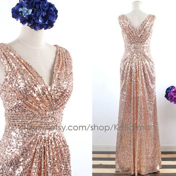 Gold Champagne Sequin Long Prom Dresses, Long Sequin Bridesmaid Dresses, Straps V Neck Sequined Formal Gown, Sequin Prom Gown