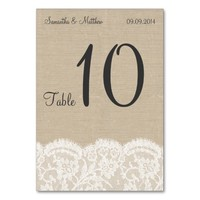 Vintage Ivory Lace & Rustic Burlap Table Numbers
