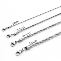 Mens Stainless Steel Silver Rope Twist Chain Necklace Jewelry