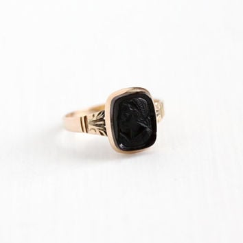 Antique 10k Rose Gold Black Onyx Cameo Ring - Vintage Size 6 Victorian 1900 Carved Woman Goddess Black Gem Classic Dainty Fine Jewelry
