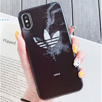 Adidas Fashion New Letter Leaf Print Women Men Protective Cover Phone Case Black