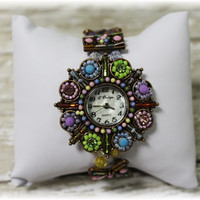 Bright color seed bead watch stretch band womens watch- FREE SHIP with any other item - fashion leather watch band  W21