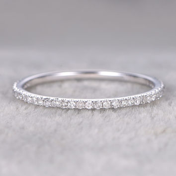 Diamond 3/4 Eternity Rings 14k White Gold Thin Micro Pave Wedding Band Stacking Ring