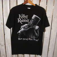 Vintage Monty Python Killer Rabbit T-Shirt, Size Medium. Run Away! Run Away!