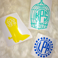 Design Vinyl Decal- Monogrammed For Car, Laptop, Notebook, or Nearly Any Surface!!
