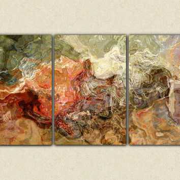 "Extra large triptych abstract  art canvas print, 40x78 giclee on stretched canvas, in earth colors, from abstract painting ""Firestarter"""
