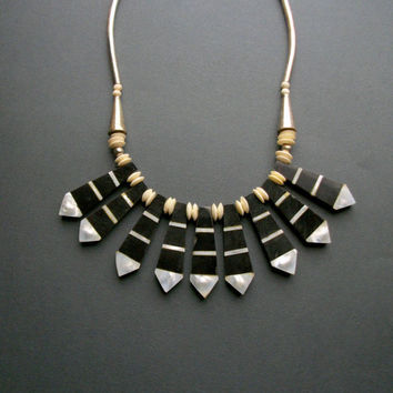 Tribal Horn Bib Necklace . Mother of Pearl . Bone . Black and White .