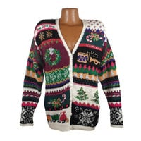 Ugly Christmas Sweater Vintage Tacky Holiday Party Women's size L