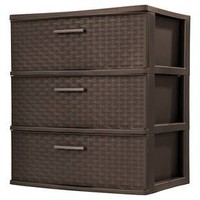 Sterilite® 3 Wide Weave Drawer Tower - Espresso and Driftwood