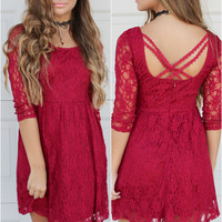 Fountains of Bellagio Red Lace Dress With Open Back and Lace Straps