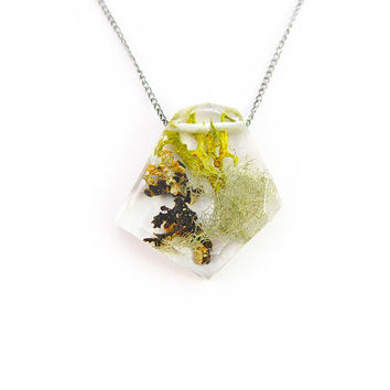 Geometric Terrarium Eco Resin Necklace • Nature Necklace • Eco Resin Moss and Lichen Terrarium Necklace • Terrarium Jewelry • Science