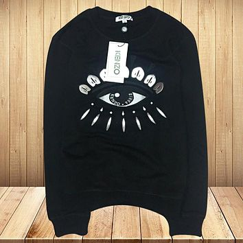 KENZO Autumn And Winter New Fashion Embroidery Letter Eye Women Men Long Sleeve Top Sweater Black