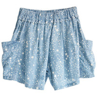 ROMWE | Five-star Printed Elasticated Wild Blue Shorts, The Latest Street Fashion