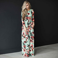 Ladies Mint Blue Floral Print Maxi Spring Dress