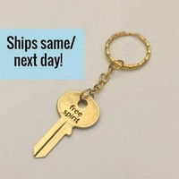 Engraved Key Keychain, Long Distance Friendship, Long Distance Relationship, Engraved Key, Engraved Gold Key, Gold Key, Key Keychain
