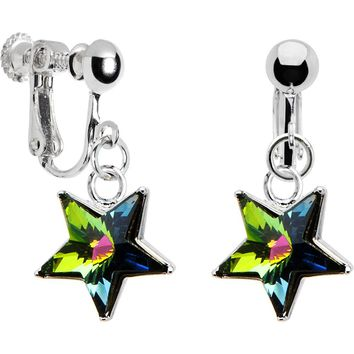 Handcrafted Vitrail Star Clip Earrings Created with Swarovski Crystals