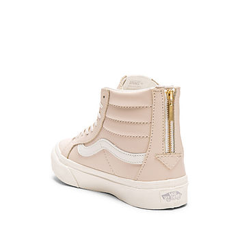 Leather Sk8-Hi Slim Zip Sneaker in Whispering Pink & Blanc de Blanc
