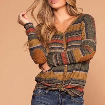 Fall Spice Olive Stripe Button Tie-Front Knit Top