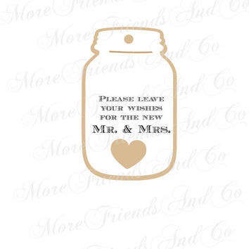 Wedding Wishes for the Mr and Mrs Mason Jar Tags / 2 Layer Rustic Mason Jar Tags