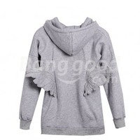 Stylish Women's Back Angel Wings Hoodie Front Zip Up Sweat Coat Free Shipping!  - US$17.69