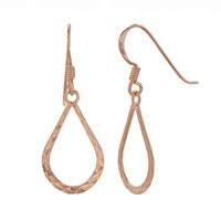 14k Rose Gold Over Silver Textured Teardrop Earrings (Pink)