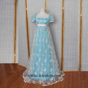 Regency Princess Ball Gown Inspired formal evening Gown in lace and satin   Prom Dress - Ready to Ship