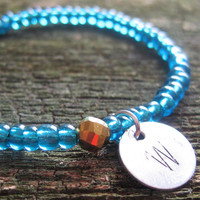 Custom Initial Blue and Gold Charm Bead Bracelet