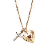 Heart and Cross Locket Necklace