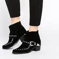 ASOS RAMPAGE Western Leather Ankle Boots