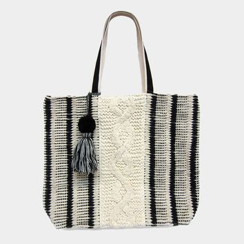Black & Ivory Striped Woven Suede Handle Pom Pom Tassel Tote Bag