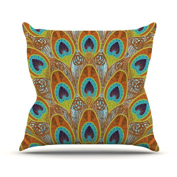 "Art Love Passion ""Peacock Pattern"" Brown Teal Outdoor Throw Pillow"