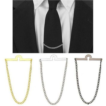 ONETOW Hot Men Tie Chain Tack Clip Locking Pin For Necktie Guard Clutch Back Secure Holder New Jewelry