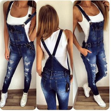 Fashion New  Sping  Denim Blue Elastic Jumper Jeans Skinny Strappy Pocket Hole Washed Cowboy Trousers Female Overalls Plus Sizes