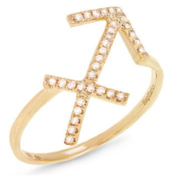 0.13ct 14k Yellow Gold Diamond Zodiac Sagittarius Ring