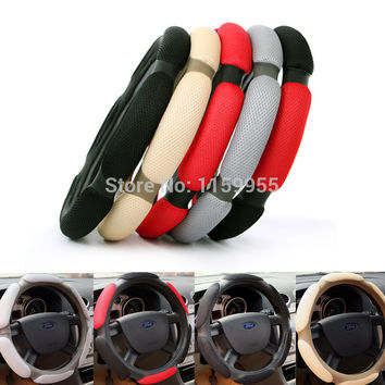 "Winter Car Steering Wheel Cover Anti-Slip 38CM 15""ix35 ix25 k2 k3 high quality Sandwich Sport Type car steering wheel covers"