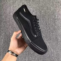 Vans Fashion Casual Trending Classic Canvas Old Skool Flats Sneakers Sport Shoes Black G