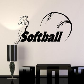 Vinyl Wall Decal Softball Word Player Ball Sports Stickers Unique Gift (ig4177)