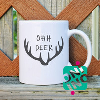 Ohh Deer Coffee Mug, Ceramic Mug, Unique Coffee Mug Gift Coffee