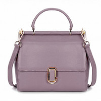 Retro Style Lavender Leather Tote. Genuine Leather Purse Weekend Bag