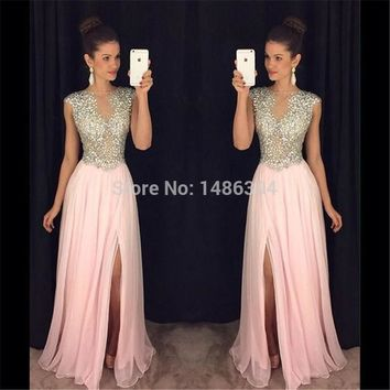 New Arrival Pink Chiffon A Line Boat Neck Cap Sleeves Long Prom Dresses 2017 Floor Length High Slit Beading Prom Gown YN32202