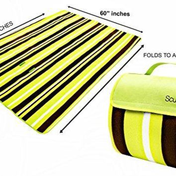 "PREMIUM XL 60""X79"" Picnic blanket seats up to 4 ADULTS & up to 6 CHILDREN waterproof"