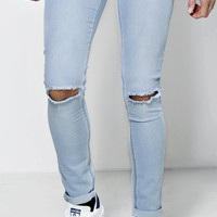 Bleached Wash Ripped Knee Skinny Jean