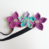 Radiant Orchid Baby Headband, Purple and Teal Floral Headband, Easter Headband, Spring Headband, Toddler Girl Headband