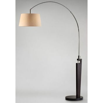 NOVA Lighting 2110389 Islington One-Light Pecan and Black Nickel Arc Lamp with Tan Linen Shade