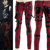 Punk Visual Kei Black STUB SLIM Zip Up K124 Red CHECKER PANTS S-2XL FREE SHIP