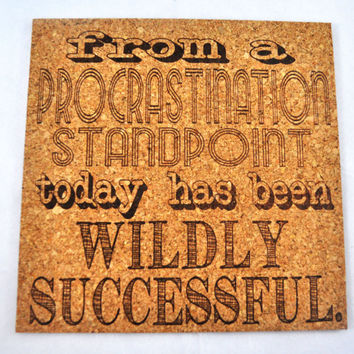 Procrastination success! Quirky Corkies Cork board, wall decor, for Home, Office, Dorm, Bedroom, Kids Room wall art