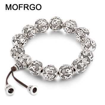 charm Fine Retro Tibetan Buddhism Plated Thai Silver rope Bracelet Men Six Words Mantras OM MANI PADME HUM Lotus Beads Bracelet